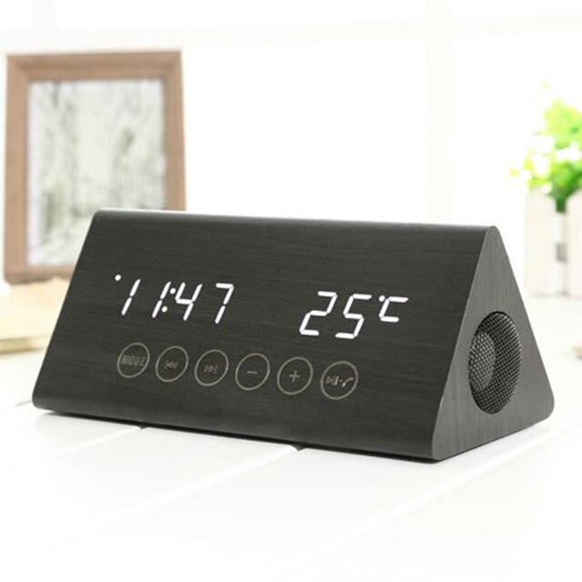 0a2b68a1059 Design moderno Sem Fio Bluetooth TF USB MP3 Player Subwoofer Estéreo de Madeira  Madeira Relógio