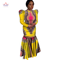 Custom African Traditional Women Clothing Long Sleeve Maxi Dress Mermaid Dress Dahiki for Women 6XL Plus Size Women Dress WY347