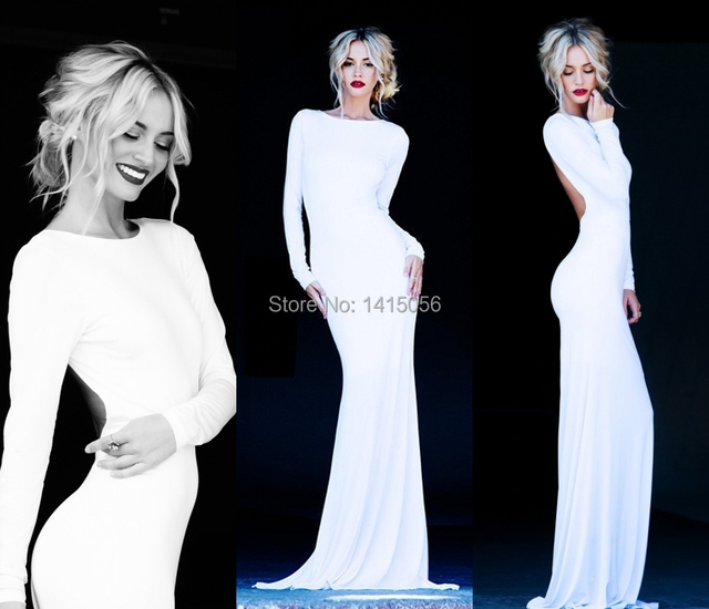 b0b0f180ecd5 Fabulous Lurelly Monaco Long Sleeve Maxi Backless White Dress Low Cut Back  Long Sleeve Evening Dress Sexy Backless Prom Dresses