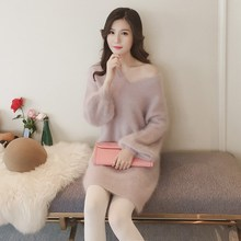 Women Mohair Sweater Dress 2019 Loose Cashmere Long Sleeve Pullover Solid V Neck Knitted Dress Latern Sleeve Mini Knitted Dress цены