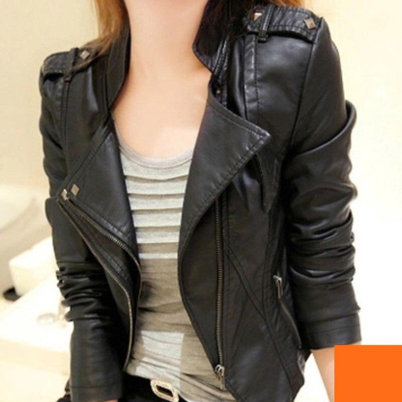 Pu Leather-based Jacket Girls Trend Flip-Down Collar Bike Coat Quick Fake Leather-based Zipper Biker Quick Mushy Jacket Feminine