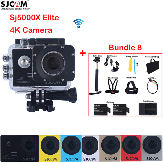 "2.0"" 4K SJCAM Sj5000 Series SJ5000X Elite WiFi NTK96660 Mini Gyro 30 Waterproof Sports Action Camera Sj Cam DVR+Many Accessories"