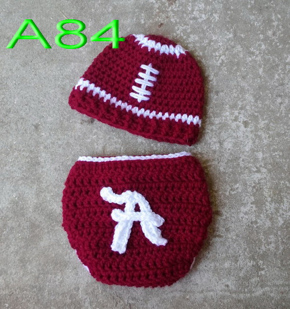 Free Shippingbaby Hatcrochet Red Rugby Football Hat With Matching
