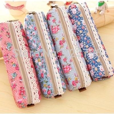1pc High Quality Mini Retro Flower Floral Lace Pencil Case,pencil Bag School Supplies Cosmetic Makeup Bag Zipper Pouch Purse