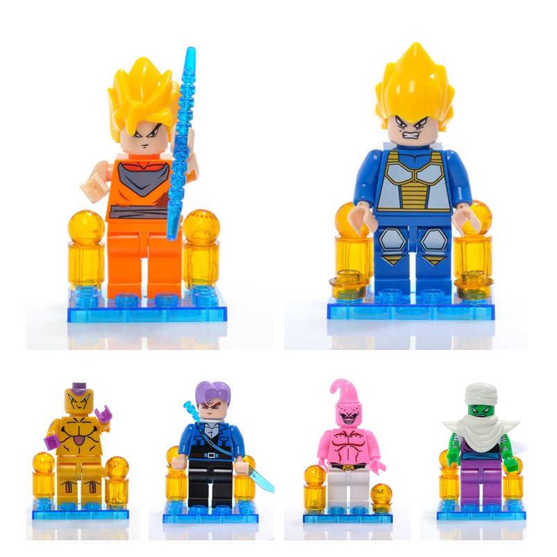 ONSHINE BIG Dragon Ball Z Super Saiyan Goku Action Figure Toy Dragonball Z Cabeça Mini Blocos de Construção de Tijolo