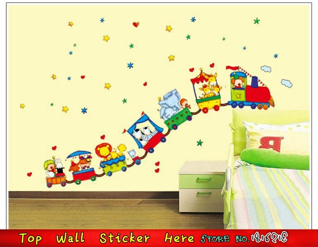 Colorful Stars Hearts Cartoon Animals Train Wall Stickers DIY Kids ...
