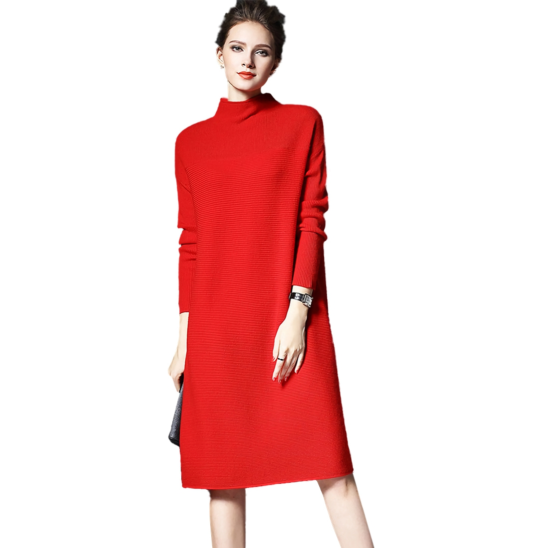 Womens Casual Fashion Sweater Dress Autumn Winter Solid Color Long Sleeve Knitting Dresses Plus Size Loose Ladies Dress(