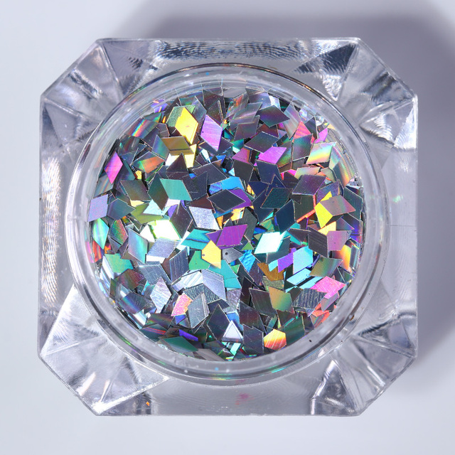 1 Box Holographic Nail Flakes 2mm Rhombus Colorful Holo Nail Glitter Paillette Sequins for Nail Art Decoration