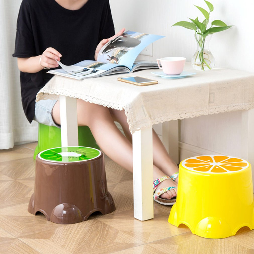 4 Colors Lovely Stools Fruit Pattern Living Room Non-slip Bath Bench Child Stool Changing Shoes Stool 4