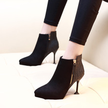 New Suede Leather Ankle Boots For Women Thin High Heels Fashion 2018 Spring Autumn Pointed Toe Short Boots Shoes CH-A0043 memunia 2018 new arrival knee high boots for women pointed toe suede leather boots zipper lace up autumn boots fashion shoes