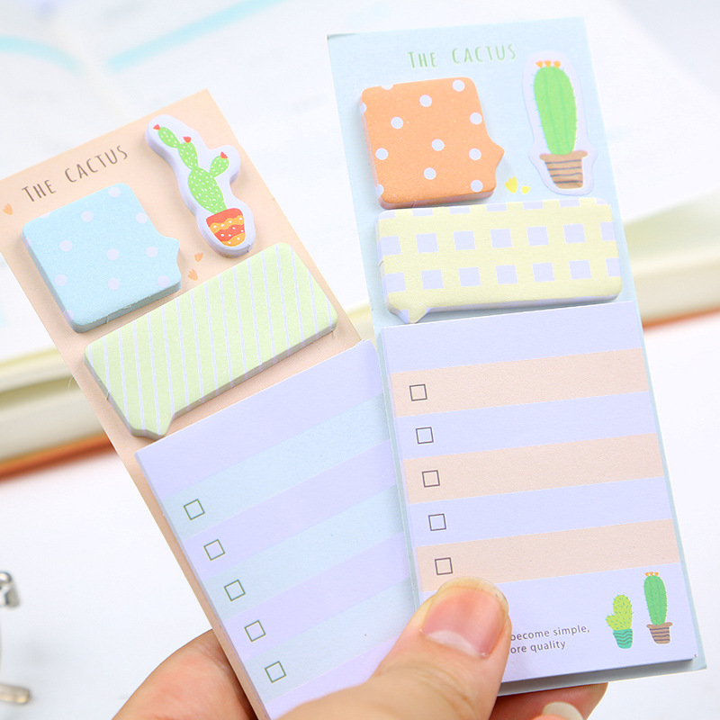 Cute Cactus Sticky Memo Pads Kawaii Stationery Paper Daily To Do List Planner Stickers Notepad School Office Writing Supplies