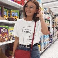 Visage abstrait simple femmes t-shirt coton décontracté drôle t-shirt cadeau pour dame Yong fille haut t-shirt livraison directe S-723