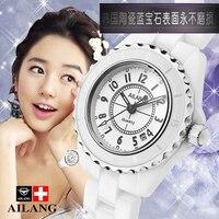 แบรนด์หรูสตรีนาฬิกาสร้อยข้อมือทำให้ตาพร่าความงามพื้นที่เซรามิกสาวหญิงนาฬิกาควอทซ์สีขา...