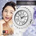 Mulheres de luxo da marca Pulseira Relógio deslumbramento beleza espaço cerâmica relógio de quartzo menina feminino branco AILANG2017