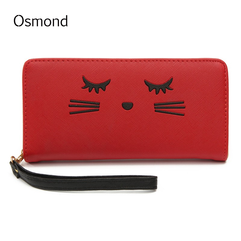 AEQUEEN Cute Cat Wallet Women Leather Long Purses Smile Lady Coin Purse For Girls Zipper Pouch Brand New Credit Card Holder