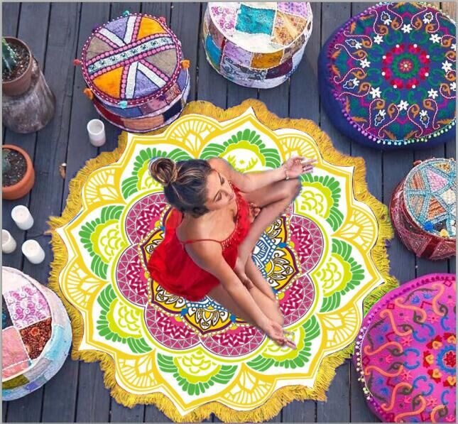 Bohemian women scarf Tassel Tapestry Indian Lotus Mandala Round Blanket Rug Beach Throw Hippie Boho