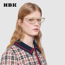 a103f73fc4 HBK diamante Sexy pequeño marco ojo de gato semicírculo gafas de sol  mujeres hombres marca diseñador de lujo 2018 nueva moda gaf.