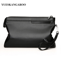 YUES KANGAROO New Brand Leather Envelope Clutches For Men High Capacity Male Clutch With Wristbands Zipper