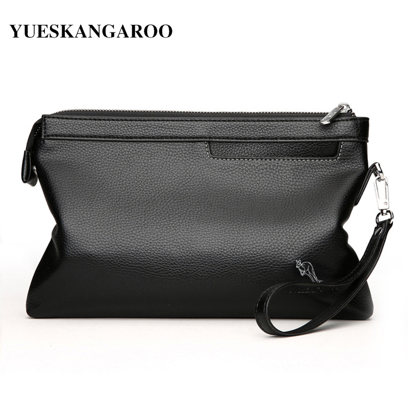 YUES KANGAROO Brand Leather Envelope Men Clutch Bag For Phone High Capacity purse Male Clutch Wristbands Zipper Mens Long Wallet