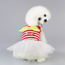 Spring/Summer Red Pink Small Dog Dress Princess Clothes Girl Striped Dresses