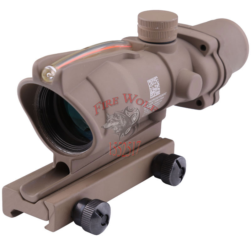 Outdoor sports Trijicon ACOG 4X32 Fiber Source Red Illuminated Scope Tan color Tactical Hunting Riflescope Free shipping tactical trijicon acog style 4x32 real fiber optics red illuminated crosshair scope w rmr micro red dot hunting riflescopes