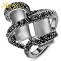 Ajojewel Size 7-9 Vintage Jewelry Retro White Gold Plated Two Cuboid White Opal Ring Pave Black Rhinestones