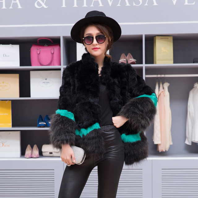 Natural rabbit fur coat with raccoon dog fur stand collar women winter coat color block fur jacket autumn free shipping g982011
