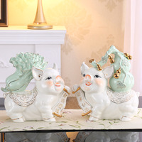Modern ceramic gourd pig ornaments chinese cabbage piggy bank crafts home living room decoration ornaments birthday gifts