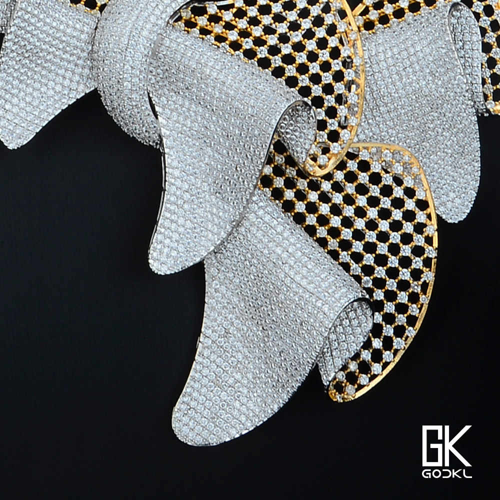 GODKI סופר יוקרה גדילים 4 pc ניגרית נשים חתונה מעוקב Zirconia קריסטל CZ דובאי כסף כלה תכשיטים סט