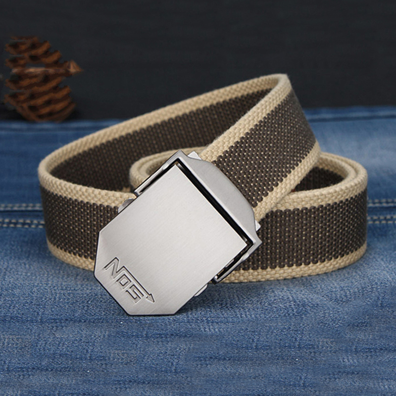 MEDYLA Canvas Belts Striped Adult Fashion Men Belt Ultra Long 140cm Canvas Belt Man Automatic Buckle  Knitted Belts