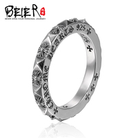 Beier 925 Silver Sterling Jewelry 2015 Trendy Ring With Cross Around Ring For Man And Women