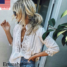US Womens Floral Lace Sheer Long Sleeve Embroidery White Tee Tops Blouse