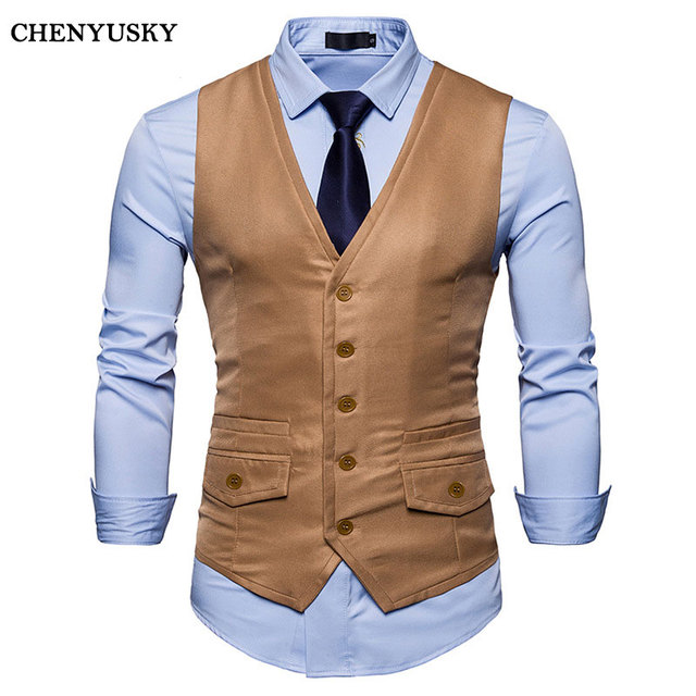 New Menu0027s Slim Fit Single Breasted Suit Vest Gilet Homme Costume 2018 Casual Covered Edge Design  sc 1 st  AliExpress.com & New Menu0027s Slim Fit Single Breasted Suit Vest Gilet Homme Costume ...