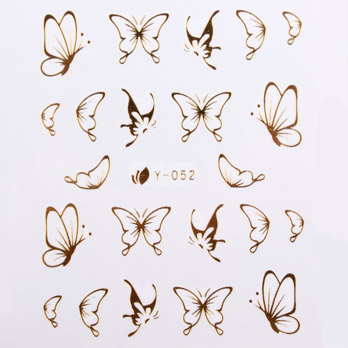 102 Styles Gold Metal Butterfly Bow Heart Nail Art Wraps DIY Decoration For Nails Free Shipping