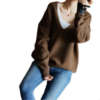 New Fashion Cashmere Knit Women Casual Sweater Pullover Big V Neck Batwing Sleeve 8color S M