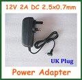 50 шт. UK 12V 2A 2,5x0,7 мм 2,5 мм адаптер питания зарядное устройство для планшетных ПК Cube U30GT2 U9GT5 Ainol Hero Chuwi V9 Visture V97 HD