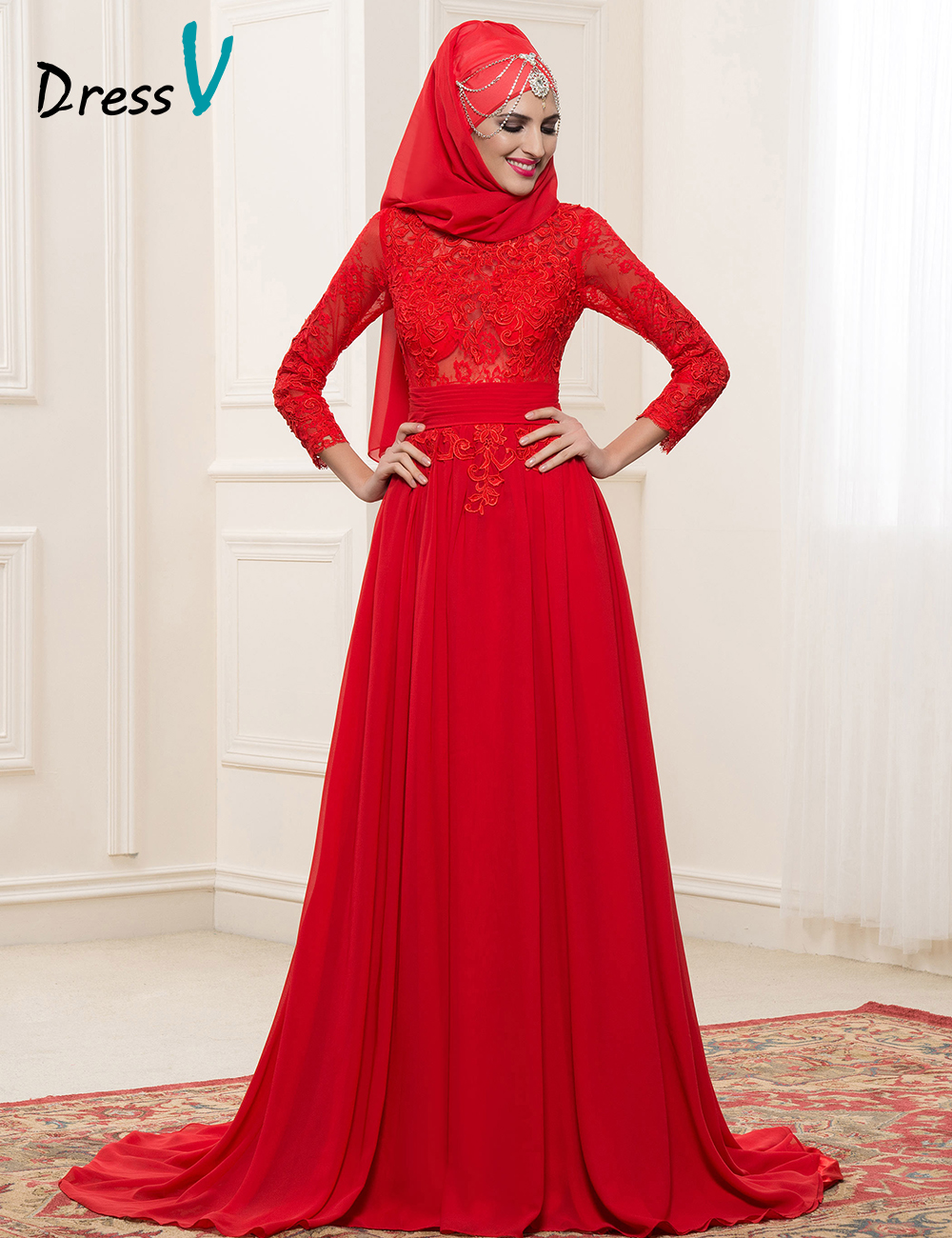 Red chiffon long sleeves muslim wedding dresses with hijab for Red wedding dresses with sleeves