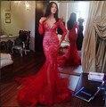 Бесплатная Доставка платья Знаменитостей саудовская аравия 2016 Sexy Skintight Русалка V-образным Вырезом С Длинным Рукавом Red Carpet Платья