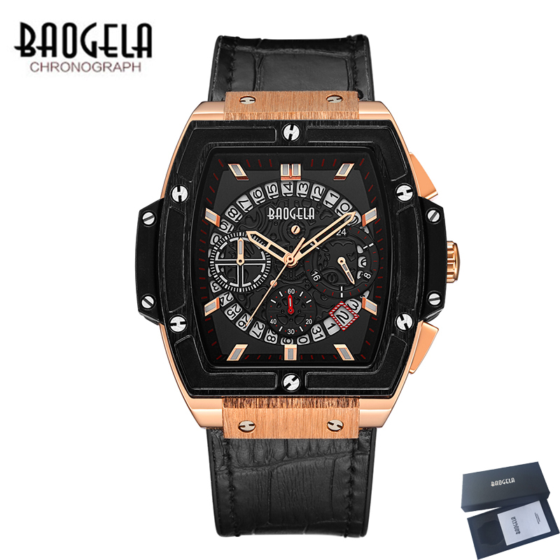 BAOGELA Sport Tonneau Quartz Watch Men Leather Strap Chronograph Waterproof Male Clock Wristwatches For Mens relogio masculino