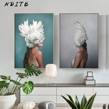 Scandinavian Feather Lady Wall Art Canvas Print Abstract Poster Painting Nordic Decoration Picture Modern Living Room Decor
