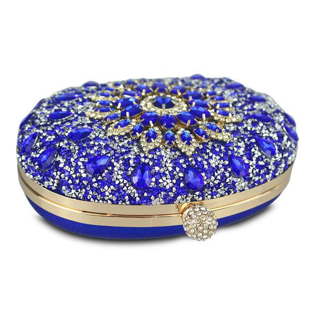 Diamond Floral  Blue Crystal Handbags