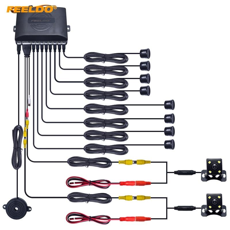 FEELDO 1Set Car 8 Sensor Parking Sensor with 2pcs Night Vision LED font b Camera b