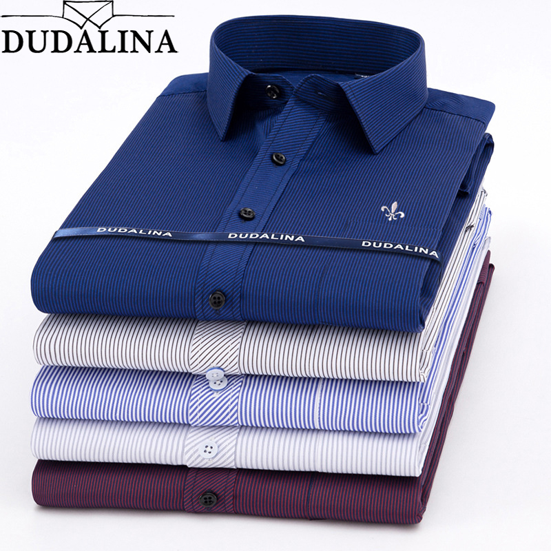 Dudalina Hot Sale Spring Men Shirt Long Sleeved Striped Solid Plaid Male Business Shirt Brand Clothing Formal Shirt Man