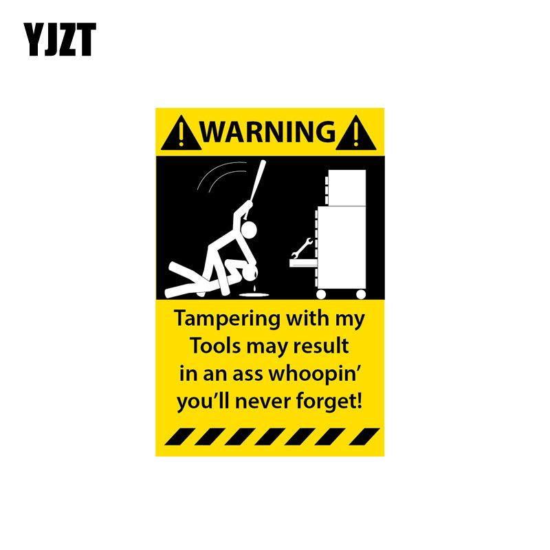 YJZT 6.3CM*10.2CM Warning Decal Tampering With My Toolbox Car Sticker PVC 12-1312