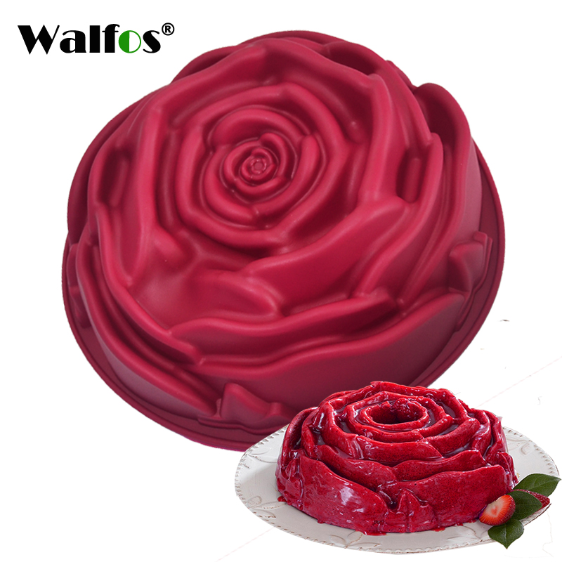 WALFOS food grade silicone Rose Flower cake pan baking Mold 9 inches Mousse Cake Bread Baking Pan Pastry Mould Bakeware