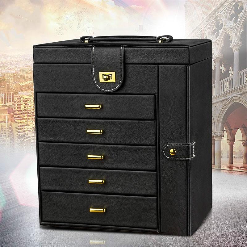 Boîte à bijoux multifonctionnelle boîte de rangement de bijoux de grande capacité boîte à bagues européenne organisateur de boîte de rangement de cadeau