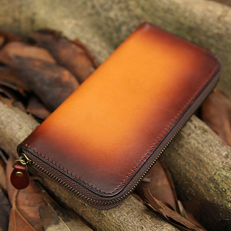 Women Men Genuine Leather Wallets Panelled Bag Purses Long Clutch Vegetable Tanned Leather Zipper Handmade Wallet Gift luxury brand vintage handmade genuine vegetable tanned cow leather men women long zipper wallet purse wallets clutch bag for man