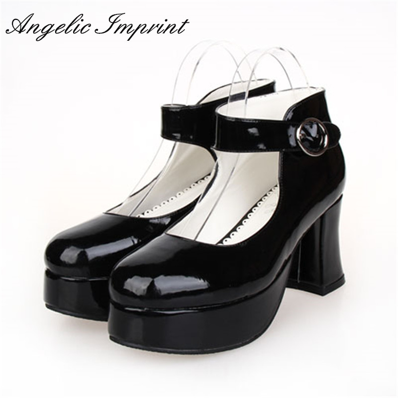Women s Lolita Cosplay Punk Black Pumps 7 5cm Chunky Heel Platform Shoes 8181
