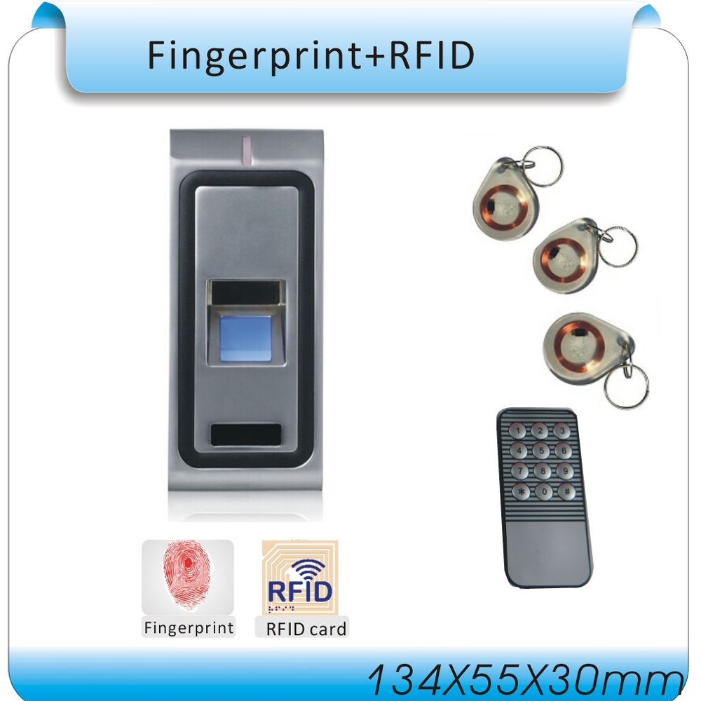 Free shipping remote DC 12V F2 fingerprint access control / metal box access controller +remote+10pcs RFID cards