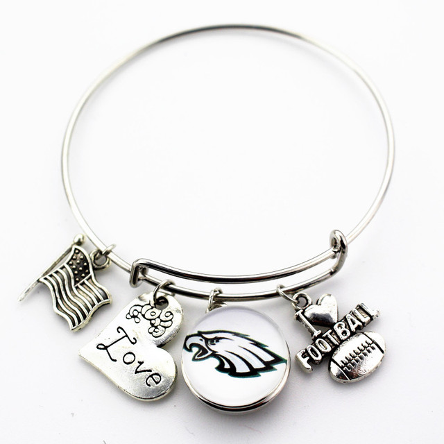 6pcs Philadelphia Eagles Football Sports Ginger Snap Bracelet Jewelry Expandable Adjule Wire Hook Bangles